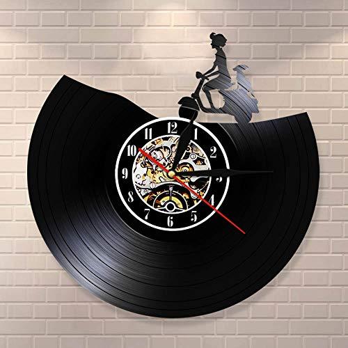 Transporte Arte de la pared Scooter Reloj de pared Motocicleta vintage Disco de vinilo Reloj de pared Moto Decoración para el hogar Conductores de motociclistas Regalo Dia 30cm 7 colores Registros d