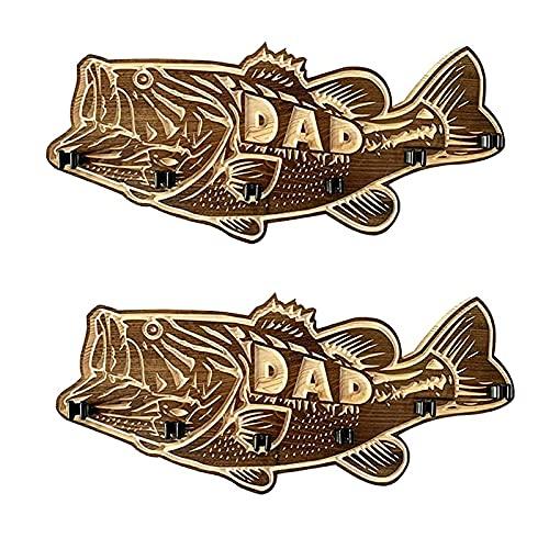 Uniguardian Trä stor mun abborre fiskespöhållare i trä fiskespö gör-det-själv fiskespö och fiskegåvor för pappa 1 eller 2 st