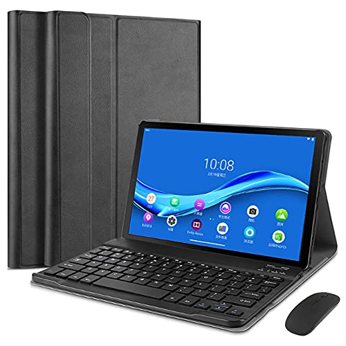 SsHhUu Keyboard Case with Mouse Set for Lenovo Tab E10 TB-X104F, Lightweight Leather Protective Case with Detachable Bluetooth Keyboard for Lenovo Tablet 2018 Tab E 10 10.1 Inch, Black