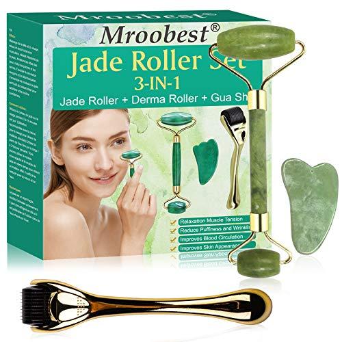 RodilloJade, JadeRollerFacial, MasajFacial, Para Una Hermosa Desintoxicación de la Piel: Facial, Ojos, Masajeador de ojos, Reducción del Envejecimiento de las Arrugas, Piedra de Jade Natural
