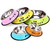 MOSTO 犬 猫 ボウル 食器 ペット用品 ステンレス製 ご飯入れ 食事台 餌やり 水やり 滑り止め 洗いやすい 給水 給餌 容器 (M, イエロー)