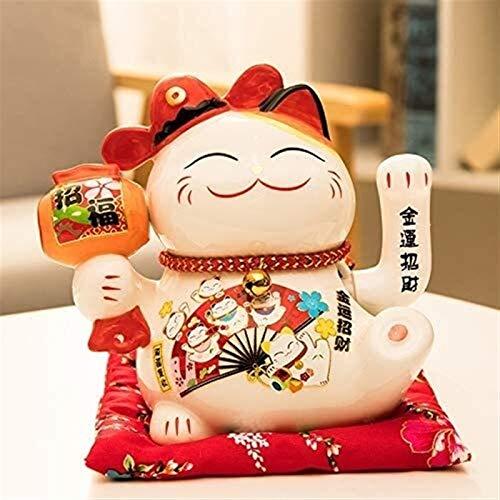 Desktop-Skulptur Glückliche Katze Statue Tier Statuette Skulptur Handwerk Modell Wohnzimmer Wohnungszubehör Registrierkasse Dekoration Geschenk Dekoration Zubehör (Color : B)
