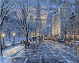 N\A Kits De Pintura por Números para Adultos - Kits De Regalo De Pintura Al Óleo DIY para Adultos Principiantes - Escena De Nieve Invierno Escena Nocturna Construcción De Castillos