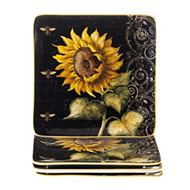 Certified International French Sunflowers Salad/Dessert Plate, 8.25-Inch, Set of 4
