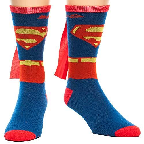 DC Comics Men's Superman Costume Crew Sock With Cape, Blue,...