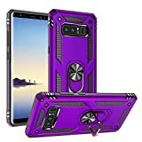 Galaxy Note 8 Case Military Grade Drop Impact Tested Armor 360 Metal Rotating Ring Kickstand Holder Built-in Car Mount Silicone TPU Shockproof Anti-Scratch Full Body Protective Cover for Note 8