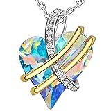 ENGSWA Collar Mujer Grabado Colgante Corazón con Cristal Regalo Novia Esposa