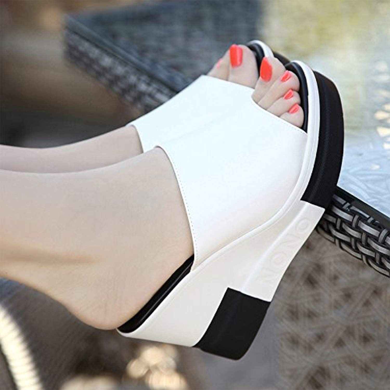 GTVERNH-Coreano Sautope da Donna Sexy Cuneo Seali Impermeabile 9.5Cm Femmina col Tacco Pantofole Spesse Muffin Pantofole 39 bianca
