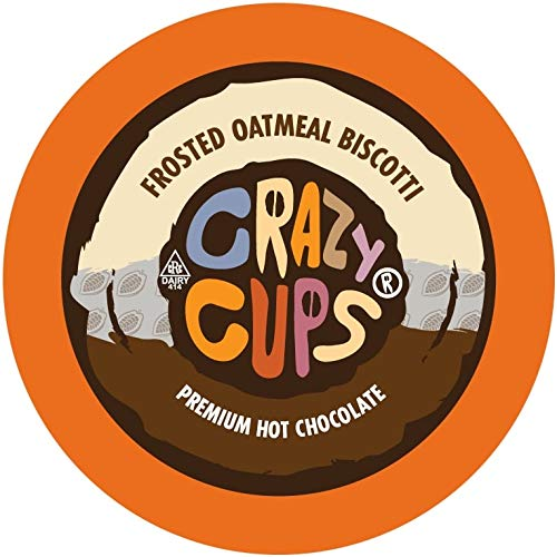 Crazy Cups Hot Chocolate Pods, Frosted Oatmeal Biscotti Hot Cocoa, Hot Chocolate for Keurig K Cups Machines, Flavored Hot Chocolate in Recyclable Pods, 22 Count