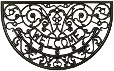Imports Decor Half-Round Rubber Doormat, Rosemary Welcome, 18-Inch by 30-Inch