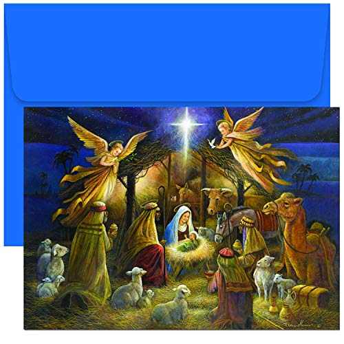 Masterpiece Studios Holiday Collection 18-Count Christmas Cards, A Holy Scene (798000)