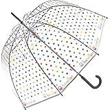 United Colors of Benetton Damen-Regenschirm, lang, manuell, mit 8 Stangen, transparent mit Maulwurfmuster, mehrfarbig