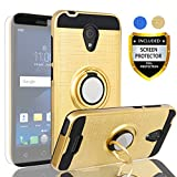 AYMECL Alcatel Verso Case,IdealXcite/CameoX 5044R/Alcatel U50 Case with HD Screen Protector,360 Degree Rotating Ring Holder Dual Layer Full-Body Protective Cases Cover for Alcatel 5044R-ZR Golden