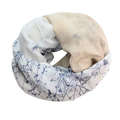 Glamexx24 Glamexx24 Loop Schal Farbeverlauf warme und weiche Schlauchschal mit Vögel Motiv Tuch Damen 01072, Khaki, Einheitsgröße