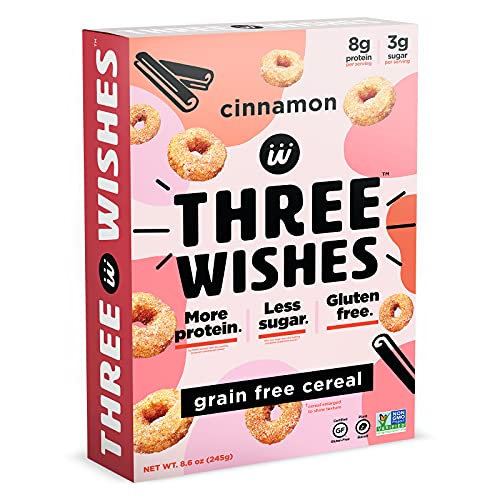 Plant-Based and Vegan Breakfast Cereal by Three Wishes - Cinnamon, 1 Pack - High Protein and Low Sugar Snack - Gluten-Free, Grain-Free, and Dairy-Free - Non-GMO