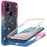 For 1+ Nord N10 5G Case, OnePlus N10 5G Glitter Phone Full Body Case with Built In Screen Protector Crystal Clear Bling Sparkly Crystal Clear Shockproof Bumper Protective Phone Cover (Pink Blue)