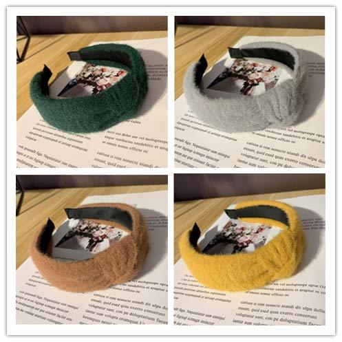 Femmes Bandeau Hiver Chaud Fluff Tissu Doux Turban Casual Top Qualité Chapeaux Filles Cheveux Accessoires 4pcs