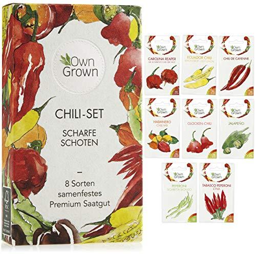 Chili Samen Set mit 8 Sorten Chilisamen für Garten und Balkon: Premium Chilisortiment – Bunte und alte Chili Pflanzen – Praktisches Chili Set mit milden und scharfen Chilli Pflanzen von OwnGrown