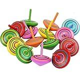 YANSHON Peonza Madera Trompo 15pcs Juguetes para niños, Juego de peonzas, Peonzas de...