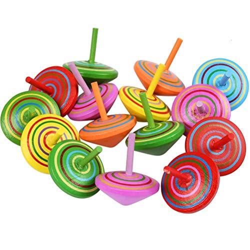 YANSHON Peonza Madera Trompo 15pcs Juguetes para niños, Juego de peonzas, Peonzas de Madera de Colores, Creativo Juguete, Regalos para Comuniones, Niños, Niñas, Fiesta cumpleaños favores, 4.5 x 4 cm