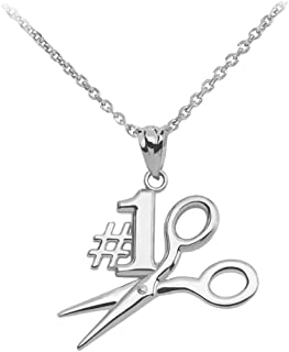 #1 Hair Stylist Scissor Charm Necklace in High Polish 925 Sterling Silver