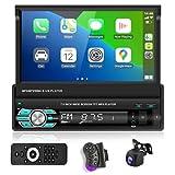 Podofo Autoradio Bluetooth 1 Din Carplay Poste Radio Voiture Camera De Recul Main Libre Car Audio Écran Tactile Retractable BT/USB/Mirror Link/FM
