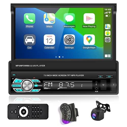 Podofo Autoradio Bluetooth Autoradio mit Freisprecheinrichtung mit Bildschirm AHD RüCkfahrkamera,1din mit Manuelle Ausfahrbarem Display Carplay Car Radio USB Touchscreen füR Android/IOS