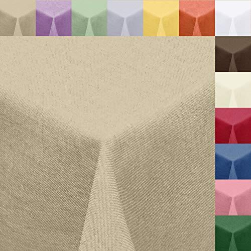 Textil Tischdecke Leinen-Optik 130x220cm eckig mit Fleck-Schutz Sand *trocknergeeignet* Farbe wählbar