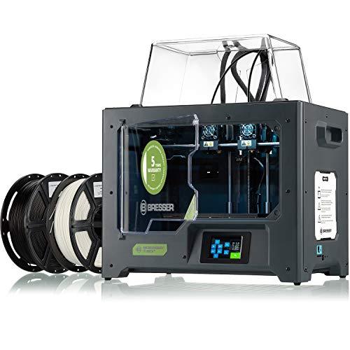 Bresser - Stampante 3D T-REX 2 WLAN IDEX 3D con 2 estrusori indipendenti e alloggiamento in metallo chiuso, dimensioni massime di 200 x 148 x 150 mm, nero, grande