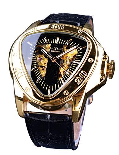 Ganador de moda mecánico reloj de pulsera triángulo Racing Dial dorado esqueleto