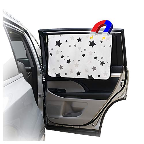 ggomaART Car Side Window Sun Shade - Universal Reversible Magnetic Curtain for Baby and Kids with Sun Protection Block Damage from Direct Bright Sunlight, and Heat - 1 Piece of Black Stars