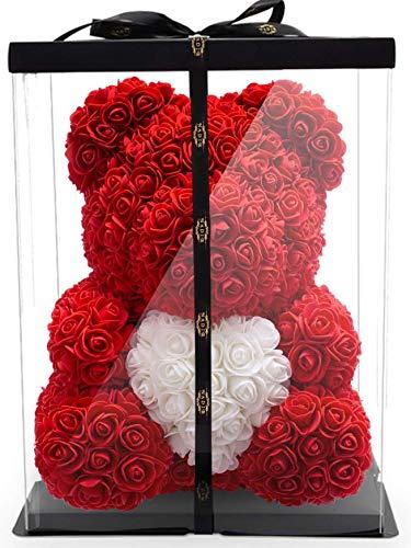 NADIR Rosenbär mit Herz/inklusive vorverpackter Geschenkbox Größen/Rose Bear with Giftbox/Valentinstag Muttertag Geburtstag Jahrestag Jubiläen Infinity Rosebear Blumenbär Rosenbären Flower Bear
