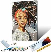 番号でペイント アフリカの女の子のポーター 大人と子供のための番号でペイントDIY油絵ギ ート家の装飾 30x45cm フレームレス