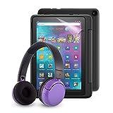 Fire HD 10 Kids Pro-Tablet (kindgerechte Hülle in Schwarz) + BuddyPhones PopTime-Bluetooth-Headset (violett, Altersklasse: 8-15 Jahre) + NuPro-Bildschirmschutzfolie (2er-Pack)