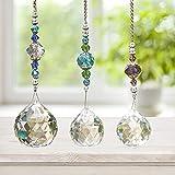 Hey_you 3 Stück Klare Kristall Prisma Kugel Regenbogen Maker Hängendes Fenster Prisma Suncatcher Kristall Anhänger mit Kette für Home Window Ornament