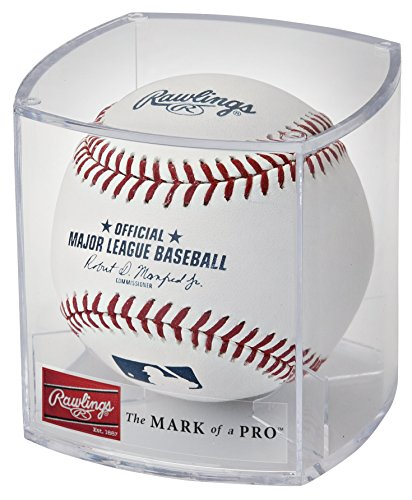 Rawlings Official 2020 Baseball of Major League Baseball (MLB), with Display Case (ROMLB-R), White/Red/Navy