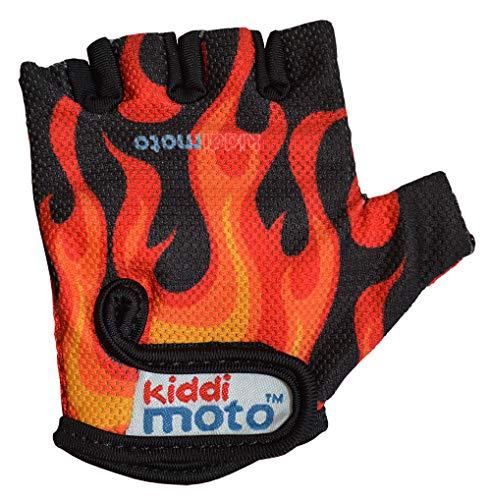 kiddimoto GLV021S - Sport und Fahrrad Handschuhe für Kinder Design, Größe S, 2-5 Jahre, flammen