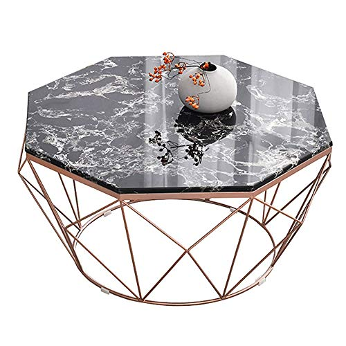 LYYJIAJU Small Coffee Tables Living Room Coffee Table, Metal Frame Marble Small Coffee Table, Iron Coffee Table Simple Coffee Table, Living Room, Bedroom Balcony and Office (Color : Black)