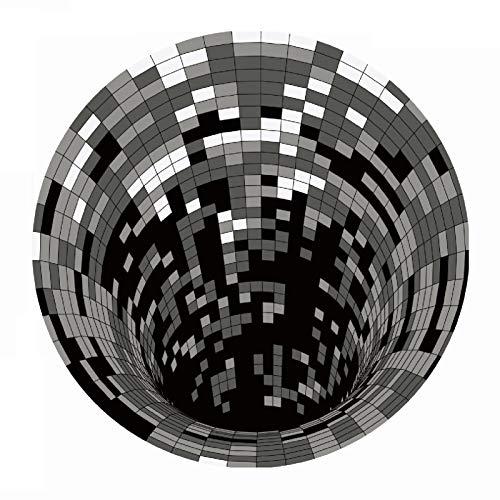 Eastdall Vortex Xadrez,Tapete redondo 3D Space, vórtice xadrez ilusões ópticas Tapete antiderrapante Tapete de piso antiderrapante Tapete de não tecido, para sala de jantar, cozinha, quarto