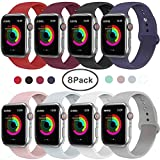 VIKATech Compatible pour Apple Watch Bracelet 40mm 38mm, Bracelets de Remplacement en Silicone Souple Compatible avec pour iWatch...