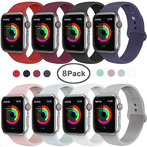 Tervoka Ersatz Armbänder für Apple Watch Armband 40mm 38mm, Weiche Silikon Ersatz Armbänder für iWatch Armband Series 4/3/2/1, S/M, 8Pack
