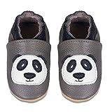 IceUnicorn Baby Lauflernschuhe Jungen Mädchen Weicher Leder Krabbelschuhe Kleinkind Babyhausschuhe Rutschfesten Wildledersohlen(D/Grauer Panda, 6-12 Monate)