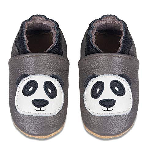 IceUnicorn Baby Lauflernschuhe Jungen Mädchen Weicher Leder Krabbelschuhe Kleinkind Babyhausschuhe Rutschfesten Wildledersohlen(D/Grauer Panda, 2-3 Jahre)