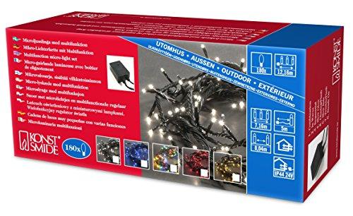 Konstsmide 2083-500 Microlight Lichterkette / für Außen (IP44) / 24V Außentrafo / mit 8 Funktionen, Steuergerät und Memoryfunktion / 100 bunte Birnen / schwarzes Kabel