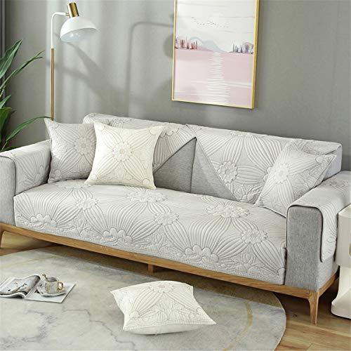 Cubierta de sofá acolchada de algodón Cubierta de cubierta, flor bordada de talla múltiple de tamaño antideslizante de tapa de sofá, protector de muebles para muebles,Gris,90 * 120cm