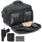 DBTAC Gun Range Bag Deluxe Middle Size   Tactical 2~4 Pistol Shooting Range Duffle Bag with Lockable Zipper for Handguns and Ammo (Black)