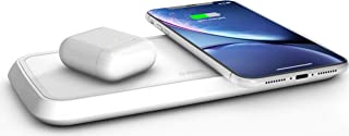 ZENS Dual Wireless Phone Charging Pad - Qi Charging Pad with 2X 10 Watt Power Output - Supports Samsung Fast Charging - Works Qi Enabled Devices - Includes AC/DC Adapter - White