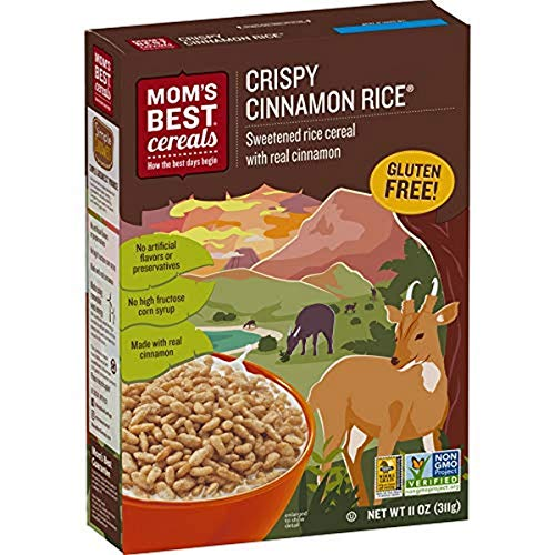 Mom's Best Crispy Cinnamon Rice Cereal, Whole Grain, Gluten Free, Non-GMO Project Verified, Kosher, No High Fructose Corn Syrup, 11 Oz Box (Pack of 10)
