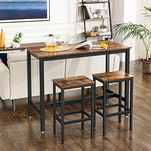 VASAGLE Bartisch-Set, Stehtisch mit 2 Barhockern, Küchentresen mit Barstühlen, Küchentisch und Küchenstühle im Industrie-Design, für Küche, 120 x 60 x 90 cm, vintagebraun-schwarz LBT15X - 4