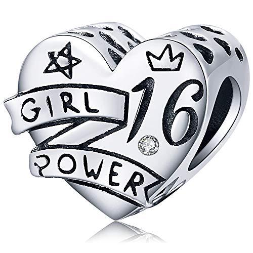 Reiko Abalorio de Poder Femenino Cumpleaños 16th(Girl Power 16th Birthday),Colgante de Plata...